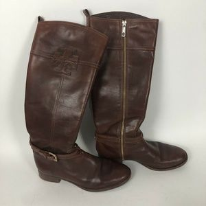 Tory Burch Blair Brown Leather Tall Riding Boots G